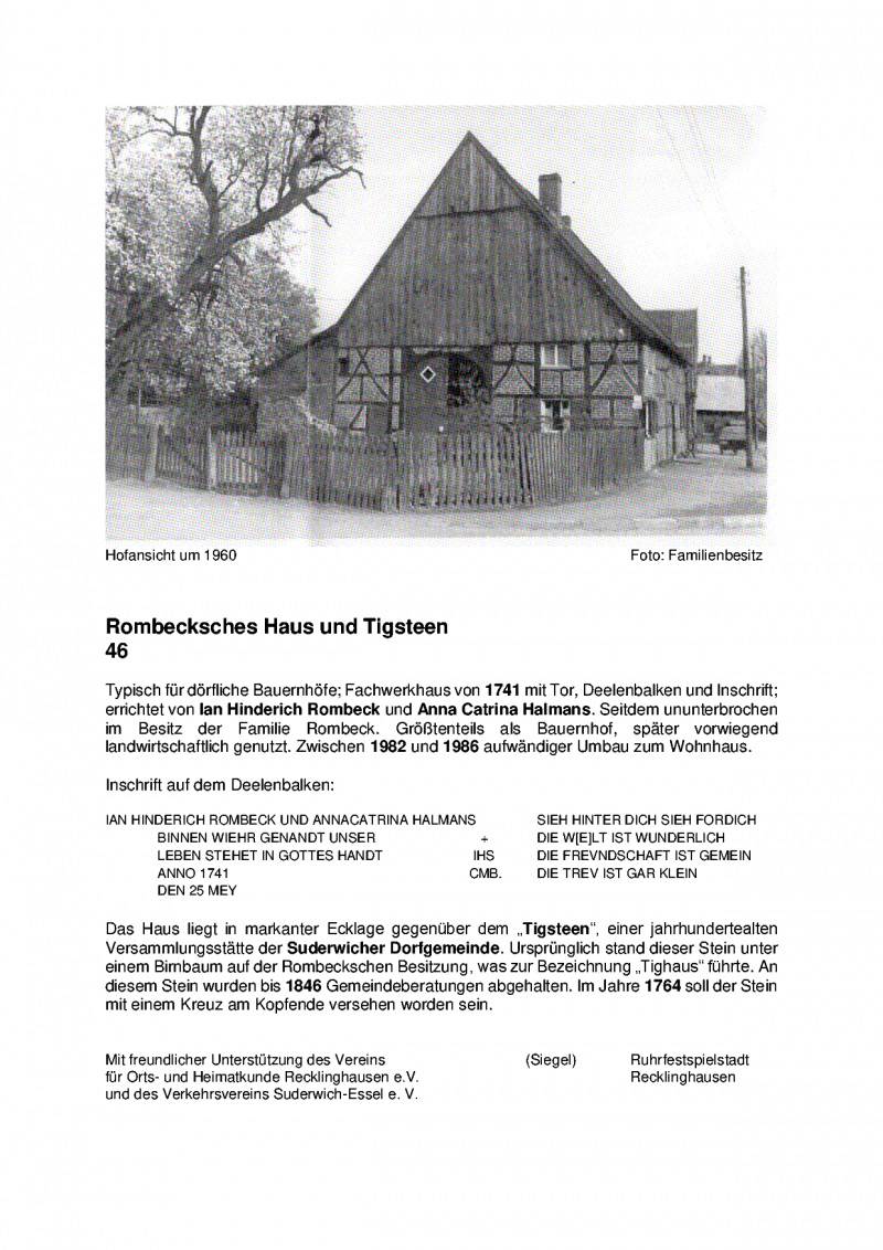Tafel Rombeck`sches Haus